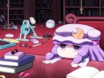 1girl bangs blue_ribbon blunt_bangs book book_stack bookshelf chair chibi commentary_request crescent crescent_hair_ornament dumbbell exercise_bike hair_ornament hair_ribbon hat hat_ribbon indoors long_hair long_sleeves mob_cap patchouli_knowledge pink_ribbon purple_hair purple_headwear ribbon rope shirosato solo touhou treadmill violet_eyes wide_sleeves