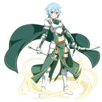 1girl armored_boots arrow bangs black_legwear black_ribbon black_shorts blue_eyes blue_hair boots bow_(weapon) breastplate cape closed_mouth faulds full_body gauntlets green_cape hair_between_eyes hair_ribbon highres holding holding_arrow holding_bow_(weapon) holding_weapon knee_boots long_sleeves looking_at_viewer midriff navel official_art ribbon short_hair short_shorts shorts shoulder_armor sidelocks sinon smile solo spaulders standing stomach sword_art_online thigh_strap transparent_background waist_cape weapon white_footwear