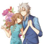1boy 1girl ;) aono_(aonocrotowa) blue_dress blue_neckwear blue_shirt brown_eyes brown_hair china_dress chinese_clothes closed_mouth collarbone collared_shirt crow_armbrust dress eiyuu_densetsu flower green_eyes highres holding_hands interlocked_fingers long_hair necktie one_eye_closed print_dress sen_no_kiseki shirt short_sleeves silver_hair simple_background smile standing striped striped_shirt towa_herschel vertical-striped_shirt vertical_stripes very_long_hair white_background wing_collar