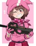 1girl animal_hat aono3 bangs belt black_belt brown_hair bullpup bunny_hat commentary_request gloves grin gun hat highres holding holding_gun holding_weapon jacket llenn_(sao) long_sleeves notice_lines outside_border p-chan_(p-90) pink_background pink_bandana pink_eyes pink_gloves pink_headwear pink_jacket short_hair smile solo submachine_gun sword_art_online sword_art_online_alternative:_gun_gale_online tactical_clothes utility_belt weapon