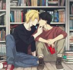 2boys ash_lynx banana_fish black_hair blonde_hair book bookshelf brown_eyes denim eye_contact food green_eyes hand_on_another's_chin jeans looking_at_another male_focus multiple_boys okumura_eiji pants pocky pocky_kiss sawa_nya shared_food shoes sitting sneakers yaoi