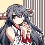 1girl 547th_sy absurdres artist_name black_hair commentary_request dated detached_sleeves eating food hairband haruna_(kantai_collection) headgear highres japanese_clothes kantai_collection long_hair ribbon-trimmed_sleeves ribbon_trim solo striped striped_background upper_body