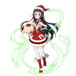 1girl bangs black_eyes black_hair blunt_bangs boots bow bowtie cake capelet closed_mouth dress floating_hair food full_body fur-trimmed_boots fur-trimmed_capelet fur-trimmed_dress fur-trimmed_hat fur_trim gloves hat highres holding holding_plate layered_dress long_hair official_art outstretched_arms plaid_neckwear plate red_bow red_capelet red_dress red_footwear red_gloves red_headwear red_neckwear santa_costume santa_hat short_dress smile solo standing sword_art_online thigh-highs transparent_background very_long_hair white_bow white_legwear yui_(sao) zettai_ryouiki