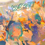 6+girls aqua_eyes aqua_nails backwards_hat bangs beanie blonde_hair blue_bow blue_eyes blue_hair bow character_request cirno closed_eyes detached_sleeves disco_ball fujiwara_no_mokou grey_hair hair_between_eyes hair_bow hair_tubes hat hat_pin hat_ribbon headphones highres holding holding_hat long_hair long_sleeves looking_at_viewer medium_hair microphone multiple_girls open_mouth patchouli_knowledge purple_hair red_bow red_eyes rei_(sanbonzakura) ribbon ribbon_trim shoes short_hair_with_long_locks short_sleeves sitting sleeveless suspenders touhou white_hair yellow_eyes