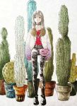 1girl bag bangs black_footwear black_pants brown_hair cactus choker full_body highres long_hair long_sleeves nejirecho original pants plant potted_plant red_shirt shirt shirt_tucked_in shoes shoulder_bag solo standing white_background