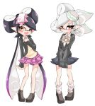 +_+ 2girls ;d alternate_costume aori_(splatoon) black_footwear black_hair black_jacket black_skirt black_sweater blazer bow bowtie brown_eyes closed_mouth commentary cousins diagonal-striped_neckwear diagonal_stripes domino_mask dress_shirt food food_on_head gradient_hair green_hair green_neckwear grey_hair half-closed_eyes hand_on_own_chest highres hotaru_(splatoon) jacket loafers long_hair long_sleeves looking_at_viewer loose_socks mask medium_hair miniskirt mole mole_under_eye multicolored_hair multicolored_neckwear multiple_girls no_socks object_on_head one_eye_closed open_clothes open_jacket open_mouth pink_neckwear pink_skirt plaid plaid_skirt pleated_skirt pointy_ears purple_hair school_uniform shirt shoes side-by-side simple_background skirt sleeves_past_fingers sleeves_past_wrists smile splatoon_(series) standing striped striped_neckwear sukeo_(nunswa08) sushi sweater tentacle_hair v-neck very_long_hair white_background white_legwear white_shirt wing_collar yellow_sweater