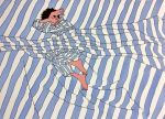 1boy 9bmmnn barefoot bed_sheet black_hair blue_stripes covering_face flat_color full_body ligne_claire limited_palette long_sleeves lying on_side original pajamas short_hair solo striped white_stripes
