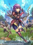 1girl 3boys armor arrow bernadetta_von_varley bike_shorts blue_sky bow_(weapon) castle clouds company_name copyright_name day fire_emblem fire_emblem:_three_houses fire_emblem_cipher fumi_(butakotai) gloves grass grey_eyes helmet holding holding_arrow holding_bow_(weapon) holding_sword holding_weapon multiple_boys official_art open_mouth outdoors purple_hair quiver rock short_hair sky solo_focus sword tearing_up tree water weapon