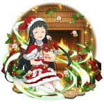 1girl black_hair box cake capelet closed_eyes dress facing_viewer fireplace floating_hair food fork fur-trimmed_capelet fur-trimmed_dress fur-trimmed_hat fur_trim garter_straps gift gift_box hat highres holding holding_fork holding_plate indoors layered_dress long_hair official_art plate red_capelet red_dress red_headwear santa_costume santa_hat shiny shiny_hair short_dress sitting solo sword_art_online thigh-highs very_long_hair wariza white_legwear yui_(sao)