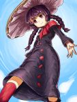 1girl ajirogasa bangs blue_sky braid breasts bright_pupils brown_headwear buttons closed_mouth clouds dress eyebrows_visible_through_hair from_below grey_dress hat highres long_hair long_sleeves nob1109 outdoors purple_hair red_eyes red_legwear sky small_breasts smile solo touhou twin_braids white_pupils yatadera_narumi
