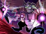 abs armor demon demon_horns digimon digimon_tamers fangs feathered_wings glowing glowing_eyes green_eyes gulfmon hawe_king horns no_humans open_mouth solo teeth wings