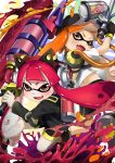 2girls absurdres aerospray_(splatoon) bangs baseball_jersey black_footwear black_gloves black_headwear black_shirt black_shorts blunt_bangs cat_ear_headphones commentary_request domino_mask fang fingerless_gloves from_behind gloves headphones highres holding holding_weapon ink_tank_(splatoon) inkling jie_laite long_hair long_sleeves looking_at_viewer looking_back mask multiple_girls no_socks open_mouth orange_eyes orange_hair paint_splatter partial_commentary redhead shirt shoes short_sleeves shorts skin_fang smile smirk splat_roller_(splatoon) splatoon_(series) splatoon_2 squid t-shirt tentacle_hair v-shaped_eyebrows weapon white_shirt