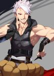 1boy abs akisa_(12023648) belt black_shirt brown_belt chipp_zanuff fingerless_gloves gloves grey_background grin guilty_gear guilty_gear_strive highres holding holding_weapon male_focus pants red_eyes shirt shuriken simple_background sleeveless smile solo weapon white_hair white_pants