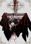 1girl absurdres barefoot blood blood_on_face blood_splatter bloody_clothes dress dripping enaa fang highres long_hair open_mouth original painting_(object) pointy_ears red_eyes solo standing vampire white_dress white_hair
