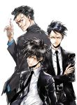 3boys absurdres amano_akira belt black_hair black_neckwear black_suit blue_eyes blue_shirt brown_eyes card character_request commentary_request formal highres key_visual looking_at_viewer multiple_boys necktie official_art psycho-pass shirt short_hair suit white_background white_shirt yellow_eyes