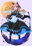 1girl animal_ears apron blue_eyes boots cat_ears cream_puff dish dress food gloves go-toubun_no_hanayome halloween highres hirokiku maid_apron nakano_nino open_mouth pink_hair ribbon short_hair smile solo wings