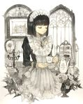 1girl bangs black_hair blunt_bangs candle closed_eyes commentary_request cup flower frills gem holding holding_cup keiko_(mitakarawa) long_sleeves medium_hair muted_color original solo teacup teapot upper_body window