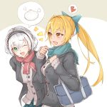 2girls bag baozi black_jacket blazer blonde_hair blue_bow bow braid breasts cowboy_shot dark_skin elf food green_eyes hair_bow hairband heart highres hololive jacket large_breasts long_hair medium_hair multiple_girls one_eye_closed open_mouth plaid plaid_skirt pointy_ears ponytail scarf school_bag school_uniform shiranui_flare shirogane_noel shirt skirt smile spoken_food spoken_heart uchukurage_san virtual_youtuber walking white_hair white_shirt yellow_eyes