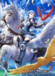 1girl bird blue_hair blue_sky braid breastplate brown_eyes brown_gloves clouds company_name copyright_name crown_braid day dress feathers fire_emblem fire_emblem:_three_houses fire_emblem_cipher gloves holding looking_to_the_side marianne_von_edmund official_art outdoors parted_lips pegasus pegasus_knight polearm riding sky solo uroko_(mnr) weapon