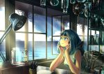 1girl absurdres blush chair closed_mouth glass green_eyes highres hood huge_filesize laboratory ocean original scenery short_hair user_aamw2233