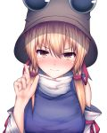 1girl blonde_hair blush brown_headwear closed_mouth commentary_request darumoon eyebrows_visible_through_hair eyes hair_between_eyes hat highres index_finger_raised looking_at_viewer medium_hair moriya_suwako simple_background solo tears touhou turtleneck upper_body wavy_mouth white_background yellow_eyes