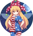 1girl american_flag_dress american_flag_legwear bangs blonde_hair blue_dress blue_legwear clownpiece commentary_request dress eyebrows_visible_through_hair fairy_wings hair_between_eyes hat jester_cap long_hair looking_at_viewer moon neck_ruff pantyhose partial_commentary polka_dot polka_dot_hat purple_headwear red_dress red_eyes red_legwear rizento short_dress short_sleeves solo star star_print striped striped_dress striped_legwear touhou very_long_hair white_dress white_legwear wings