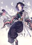 1girl belt black_hair bug butterfly butterfly_hair_ornament closed_mouth hair_ornament highres insect japanese_clothes katana kimetsu_no_yaiba kochou_shinobu kusano_shinta long_sleeves multicolored multicolored_hair purple_hair scabbard sheath sheathed silhouette smile smole solo sword violet_eyes weapon