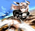 1girl bird_tail blonde_hair blue_eyes blush eyebrows_visible_through_hair flying goggles goggles_on_head grin groin gun hanna-justina_marseille hosoinogarou long_hair looking_at_viewer miniskirt outdoors panties parted_lips rifle shiny shiny_hair skirt sky smile solo spread_legs strike_witches striker_unit tail underwear upskirt weapon white_panties wing_ears world_witches_series