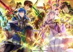 6+boys 6+girls altenna_(fire_emblem) ares_(fire_emblem) arrow belt black_eyes black_hair blonde_hair blue_eyes blue_hair blue_scarf book bow_(weapon) bracelet brown_hair cape ced_(fire_emblem) closed_eyes closed_mouth company_name copyright_name earrings febail_(fire_emblem) fee_(fire_emblem) fire_emblem fire_emblem:_genealogy_of_the_holy_war fire_emblem_cipher from_behind from_side fur_trim gloves green_eyes green_hair headband holding holding_arrow holding_book holding_bow_(weapon) holding_hands holding_staff holding_sword holding_weapon jewelry julia_(fire_emblem) larcei_(fire_emblem) leif_(fire_emblem) long_hair long_sleeves multiple_boys multiple_girls nanna_(fire_emblem) official_art open_book open_mouth parted_lips patty_(fire_emblem) pegasus pegasus_knight polearm ponytail purple_hair redhead riding scarf seliph_(fire_emblem) short_hair silvia_(fire_emblem) smile staff suzuki_rika sword tine_(fire_emblem) twintails violet_eyes weapon white_gloves