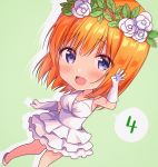 1girl :d amedamacon bangs bare_shoulders blush breasts chibi commentary_request dress drop_shadow elbow_gloves eyebrows_visible_through_hair flower gloves go-toubun_no_hanayome grey_background hair_between_eyes hair_flower hair_ornament hand_up highres layered_dress long_hair medium_breasts nakano_yotsuba open_mouth orange_hair pleated_dress rose shoes sleeveless sleeveless_dress smile solo upper_teeth violet_eyes white_dress white_flower white_footwear white_gloves white_rose