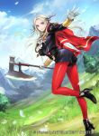 1girl axe blonde_hair blue_sky cape closed_mouth clouds company_name copyright_name day edelgard_von_hresvelg fire_emblem fire_emblem:_three_houses fire_emblem_cipher flower garreg_mach_monastery_uniform gloves hair_ribbon high_heels holding holding_axe long_hair long_sleeves mountain official_art outdoors petals red_cape red_legwear ribbon sky solo tree uniform violet_eyes wada_sachiko white_gloves