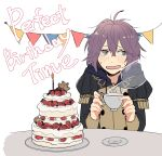 1girl absurdres bernadetta_von_varley cake candle cup english_text fire_emblem fire_emblem:_three_houses food fruit garreg_mach_monastery_uniform grey_eyes highres hirunesukix holding holding_cup hood hood_down long_sleeves open_mouth plate purple_hair short_hair simple_background solo strawberry table teacup uniform upper_body white_background