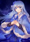 1girl :d ancient_ys_vanished bangs blue_coat blue_eyes blue_flower blue_ribbon blue_rose blush character_request coat eyebrows_visible_through_hair feena_(ys) floating_hair flower fur-trimmed_coat fur_trim hair_between_eyes hair_flower hair_ornament hands_clasped interlocked_fingers lanlanlu_(809930257) long_hair long_sleeves looking_at_viewer neck_ribbon open_mouth own_hands_together ribbon rose shiny shiny_hair silver_hair sky smile solo standing star_(sky) starry_sky tears very_long_hair ys