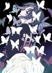 1girl absurdres animal_print black_background black_hair blue_background bug butterfly butterfly_hair_ornament butterfly_print coat cowboy_shot grey_eyes hair_ornament haori highres insect japanese_clothes kimetsu_no_yaiba kochou_shinobu lips looking_at_viewer looking_back multicolored_hair namero15 off_shoulder purple_hair short_hair simple_background solo twitter_username two-tone_background two-tone_hair uniform