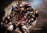 1boy claws cyborg digimon helmet hiandromon mechanical_arm no_humans robot robotic_legs solo tak-pi yellow_eyes