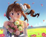 1girl ahoge alternate_costume blush bouquet bow brown_hair day dress drill_hair eyebrows_visible_through_hair flower full-face_blush hair_bow holding holding_bouquet idolmaster idolmaster_million_live! idolmaster_million_live!_theater_days kamille_(vcx68) looking_at_viewer outdoors short_hair side_drill solo upper_body violet_eyes white_bow white_dress yokoyama_nao