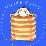 1girl atago_(kantai_collection) bangs beret blonde_hair blue_background blue_headwear food fujinozu hat in_food kantai_collection long_hair pan-pa-ka-paaan! pancake pun simple_background solo stack_of_pancakes syrup