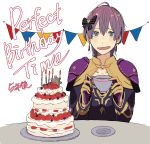 1girl absurdres bernadetta_von_varley cake candle cup earrings english_text fire_emblem fire_emblem:_three_houses food fruit gloves grey_eyes hair_ornament highres hirunesukix holding holding_cup jewelry long_sleeves open_mouth plate purple_hair simple_background solo strawberry table teacup upper_body white_background yellow_gloves