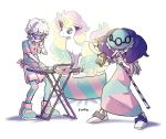 beet_(pokemon) dress findoworld galarian_form galarian_ponyta gen_8_pokemon glowing grey_hair gym_leader hat highres horn instrument keyboard_(instrument) microphone music old_woman playing_instrument pokemon pokemon_(game) pokemon_swsh poplar_(pokemon) simple_background singing standing striped_clothes sunglasses