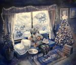 1girl absurdres bangs black_hair book christmas_tree cookie couch curtains drinking food glowing heater highres long_hair long_sleeves ootsuki_kana original pillow plate rug slippers solo star swept_bangs traditional_media twintails window window_fog window_writing