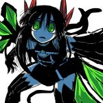1girl bad_id bad_twitter_id black_skirt demon_tail demon_wings elbow_gloves gloves green_eyes juugoya_(zyugoya) limited_palette merii_(musuko_ga_kawaikute_shikatanai_mazoku_no_hahaoya) musuko_ga_kawaikute_shikatanai_mazoku_no_hahaoya red_horns sharp_teeth skirt tail teeth tentacles thigh-highs thighs white_background wings younger