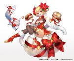 1girl absurdres black_legwear blonde_hair boots breasts china_dress chinese_clothes covered_navel dress eyebrows_visible_through_hair flower full_body hair_flower hair_ornament high_heels highres kurokishi_to_shiro_no_maou looking_at_viewer medium_breasts open_mouth red_eyes sakofu short_hair solo thigh-highs under_boob white_background