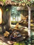 black_mage blue_robe cat chocobo final_fantasy final_fantasy_ix flower forest hat highres house leaf lily_pad looking_at_another nature pants pot staff striped striped_pants sui_(petit_comet) tree vivi_ornitier witch_hat wooden_floor yellow_eyes