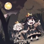 1boy 1girl black_bow black_dress black_hair blind_prince bow cape crown dress flower forest holding_hands houten_(dre_a_mer) liar_princess looking_at_another moon musical_note nature pointing sharp_teeth teeth tree usotsuki_hime_to_moumoku_ouji white_hair