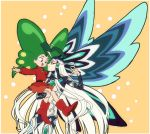 1boy 1girl :d antennae belt black_hair blue_eyes bodysuit butterfly_wings carrying cowboy_shot eye_contact eyeshadow fate/grand_order fate_(series) green_hair kagio_(muinyakurumi) long_hair looking_at_another makeup multicolored_hair open_mouth orange_background qin_shi_huang_(fate/grand_order) red_eyes red_footwear red_shirt red_skirt shirt shoes simple_background skirt smile two-tone_hair white_hair wings yadamon yadamon_(character)