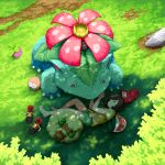 1girl bag beanie bounsweet bracelet_removed brown_hair eyelashes from_above grass handbag hat hat_removed headwear_removed lying medium_hair mizuki_(pokemon) mk_(mikka) on_side outdoors pokemon pokemon_(game) pokemon_sm rock rowlet shade shirt shoes_removed shorts sleeping tied_shirt venusaur whimsicott z-ring
