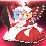 2girls :o aura bat_wings blonde_hair blouse blue_hair brooch commentary diffraction_spikes expressionless eyebrows_visible_through_hair flandre_scarlet hair_between_eyes hat hat_ribbon head_to_head highres holding_hands interlocked_fingers jewelry kneeling lens_flare light_particles looking_at_viewer looking_back mob_cap multiple_girls puffy_short_sleeves puffy_sleeves red_background red_eyes red_skirt red_vest remilia_scarlet ribbon sash satoru_(enheionline) shirt short_hair short_sleeves siblings side_ponytail sisters skirt touhou vest white_blouse white_shirt white_skirt wings