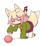 1girl all_fours animal_ear_fluff animal_ears ball bangs bell bell_collar blonde_hair blush brown_collar brown_footwear closed_eyes collar commentary_request eyebrows_visible_through_hair fox_ears fox_girl fox_tail full_body green_shirt hair_bun hair_ornament jingle_bell kemomimi-chan_(naga_u) long_hair long_sleeves naga_u orange_neckwear original pleated_skirt purple_skirt ribbon-trimmed_legwear ribbon_trim sailor_collar shadow shirt sidelocks skirt sleeves_past_fingers sleeves_past_wrists solo tail thigh-highs white_background white_legwear white_sailor_collar