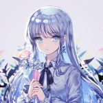 1girl bangs black_ribbon blue_eyes blue_flower blue_hair blue_rose blurry blurry_background closed_mouth collared_shirt commentary depth_of_field earrings english_commentary eyebrows_visible_through_hair flower grey_background grey_shirt highres holding holding_flower jewelry long_hair long_sleeves looking_at_viewer mechuragi multicolored_hair neck_ribbon original pink_flower pink_rose ribbon rose shirt silver_hair solo two-tone_hair upper_body very_long_hair