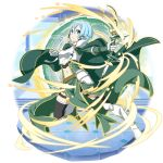 1girl armored_boots black_legwear black_ribbon black_shorts blue_eyes blue_hair boots bow_(weapon) breastplate cape closed_mouth firing frown green_cape green_skirt hair_between_eyes hair_ribbon highres holding holding_bow_(weapon) holding_weapon knee_boots long_sleeves midriff navel official_art overskirt ribbon short_hair short_shorts shorts shoulder_armor sinon skirt solo spaulders stomach sword_art_online thigh-highs thigh_strap transparent_background weapon white_footwear
